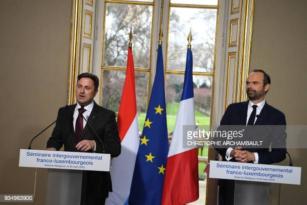 French Prime Minister Edouard Philippe and Luxembourg Prime Minister Xavier Bettel gives a joint press conference at the Hotel de Matignon as part of...