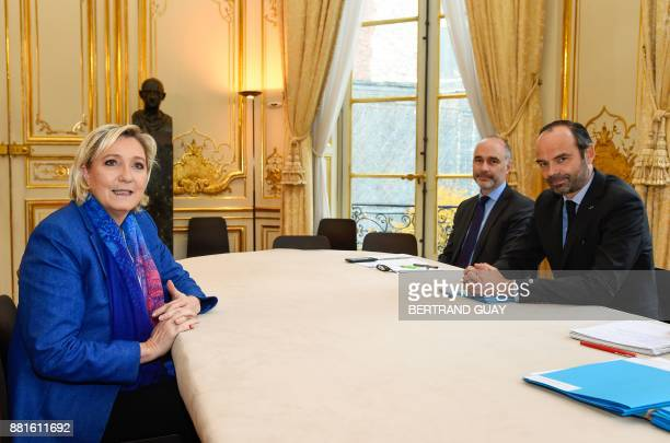 French Prime Minister Edouard Philippe and political advisor Gilles Boyer meet with French farright Front National party president Marine Le Pen on...