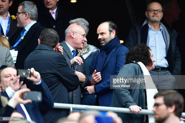 French prime minister Edouard Philippe and President of the French Rugby Federation Bernard Laporte during the RBS Six Nations match between France...