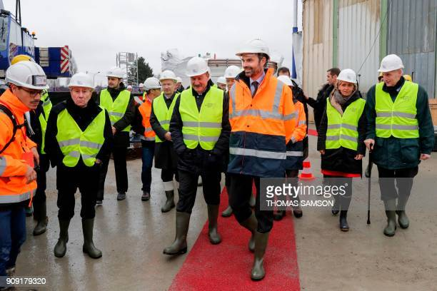 French Prime Minister Edouard Philippe and President of the IledeFrance region Valerie Pecresse visit the drilling site of the future Metro Line 15...