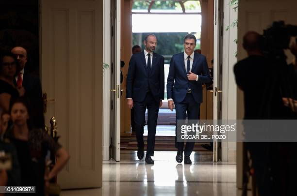 French Prime Minister Edouard Philippe and Spanish counterpart Pedro Sanchez arrives for a ceremony marking the cooperation between their countries...