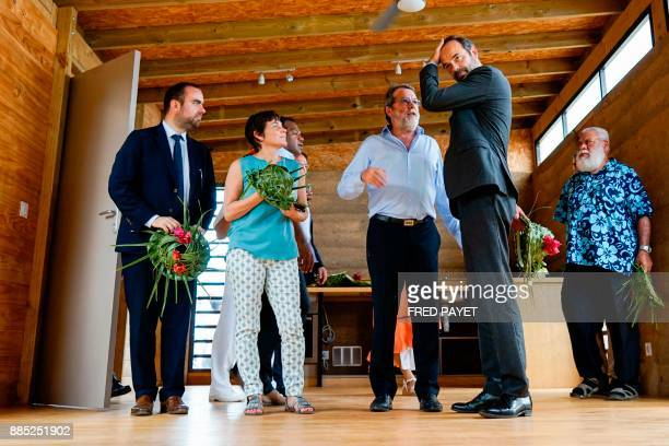 French Prime Minister Edouard Philippe and the president of the North Province of New Caledonia Paul Neaoutyine visit an activity zone in the...