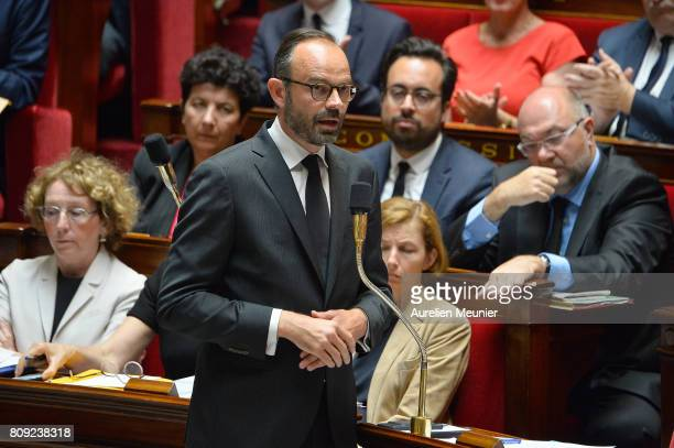 French Prime Minister Edouard Philippe answers deputies during the weekly questions to the government at Assemblee Nationale on July 5, 2017 in...