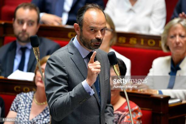 French Prime Minister Edouard Philippe answers deputies during the weekly questions to the government at Assemblee Nationale on July 19, 2017 in...