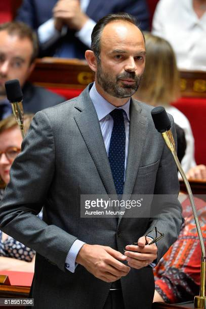 French Prime Minister Edouard Philippe answers deputies during the weekly questions to the government at Assemblee Nationale on July 19 2017 in Paris...
