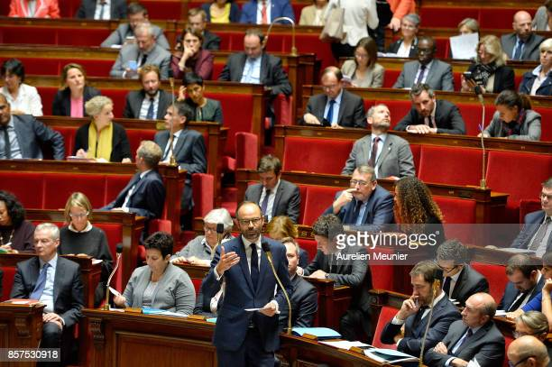 French Prime Minister Edouard Philippe answers deputies during the weekly questions to the government at Assemblee Nationale on October 4, 2017 in...