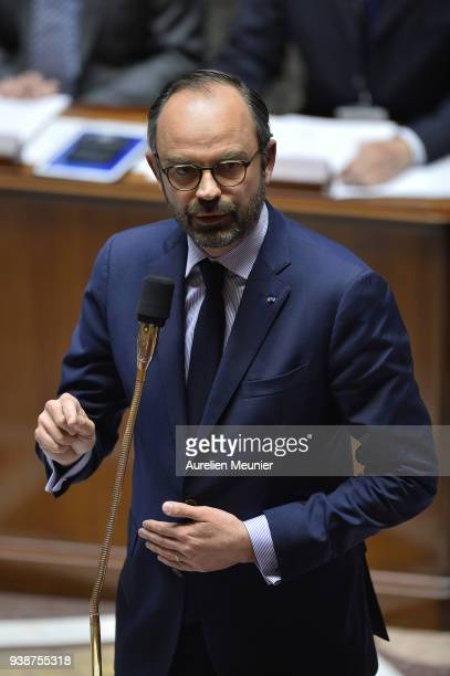French Prime Minister Edouard Philippe answers deputies during the weekly session of questions to the government at Assemblee Nationale on March 27...