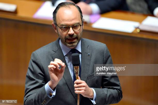 French Prime Minister Edouard Philippe answers deputies questions during the weekly session of questions to the government at Assemblee Nationale on...