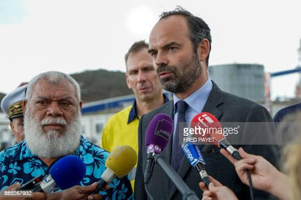 French Prime Minister Edouard Philippe answers journalists questions during his visit of the nickel mining plant KNS Vavouto in Grande Terre island...