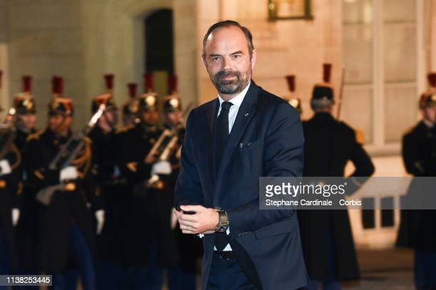 French Prime minister Edouard Philippe arrives at a state dinner with French President Emmanuel Macron and Chinese President Xi Jinping at the Elysee...