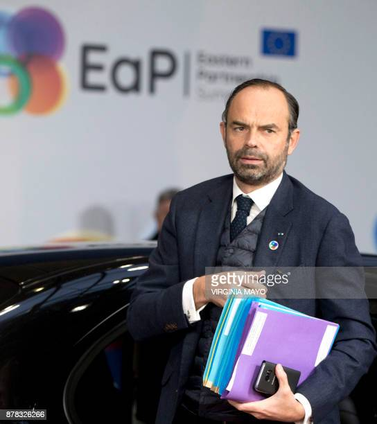 French Prime Minister Edouard Philippe arrives for a EU Eastern Partnership Summit in Brussels on November 24 2017 Leaders from the EU and six former...