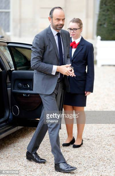 French Prime minister Edouard Philippe arrives for a meeting as part of the International Day for the Elimination of Violence against Women at the...