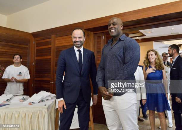 French Prime Minister Edouard Philippe arrives for a meeting with French judoka Teddy Riner ambassador of the registration on the electoral lists...