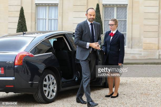 French Prime Minister Edouard Philippe arrives to attend a ceremony on the International Day for the Elimination of Violence Against Women on...