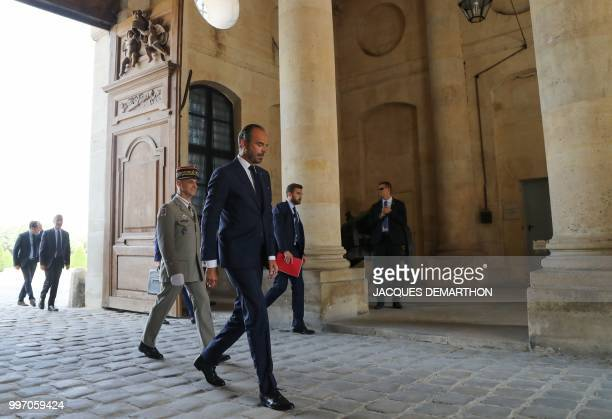 French Prime minister Edouard Philippe arrives to take part in a tribute ceremony to French filmmaker and writer Claude Lanzmann on July 12 at the...