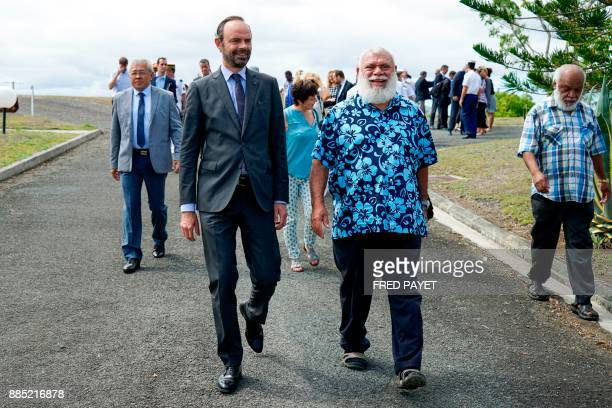 French Prime Minister Edouard Philippe arrives to visit Kone a city in Grande Terre near Noumea on December 4 during his visit to the French overseas...