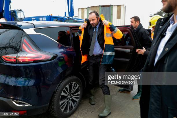 French Prime Minister Edouard Philippe arrives to visit the drilling site of the future Metro Line 15 South of the Grand Paris Express on January 23...