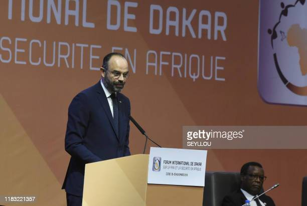 French Prime Minister Edouard Philippe at the opening of the International Forum on Peace and Security in Africa on November 18, 2019 at the Abdou...
