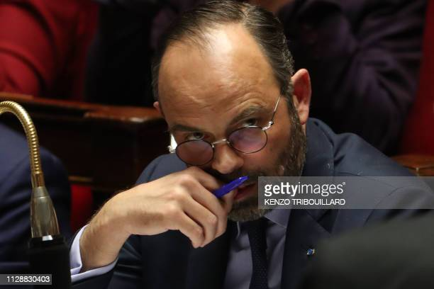 French Prime Minister Edouard Philippe attends a session of questions to the government at the National Assembly in Paris on March 6 2019