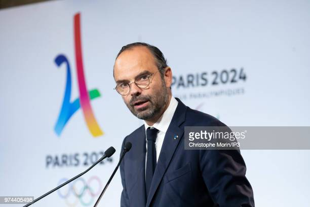 French Prime Minister Edouard Philippe attends the ceremony of signing of joint funding protocol for the Paris 2024 Olympic Games and 2024...