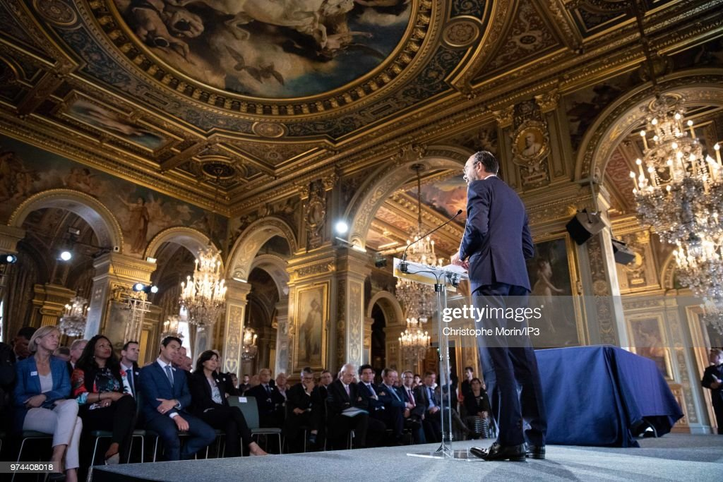 French Prime Minister Edouard Philippe attends the ceremony of signing of joint funding protocol for the Paris 2024 Olympic Games and 2024 Paralympics games, at the Paris City Hall on June 14, 2018 in Paris, France. The collective work to optimise the Olympic and Paralympic project was carried out by the Paris 2024 Committee, the State, the local authorities and the various project owners.
