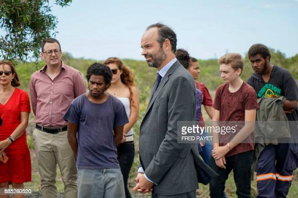 French Prime Minister Edouard Philippe attends the presentation of the site of the future northern branch ot New Caledonia's university in Kone a...