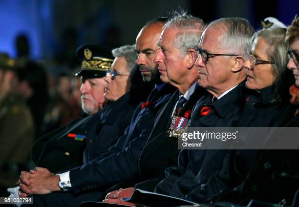 French Prime Minister Edouard Philippe Australia's Prime Minister Malcolm Turnbull and Prince Charles Prince of Wales attend the ceremony of the...