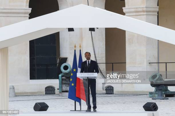 French Prime minister Edouard Philippe delivers a speech as he takes part in a tribute ceremony to French filmmaker and writer Claude Lanzmann on...