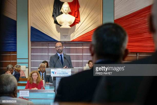 French Prime Minister Edouard Philippe delivers a speech before the Congress of New Caledonia on December 5 2017 in Noumea with French Justice...