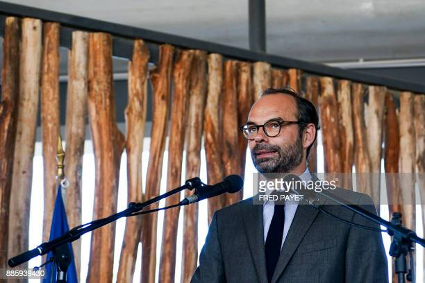 French Prime Minister Edouard Philippe delivers a speech during a decoration ceremony within the inauguration of a high school in MontDore on...