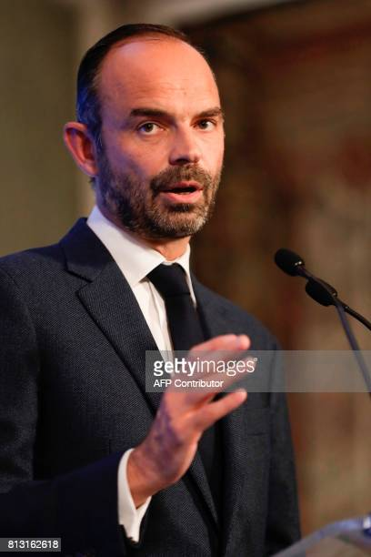 French Prime Minister Edouard Philippe delivers a speech during the presentation of a policy on migration flows and the securing of the right to...