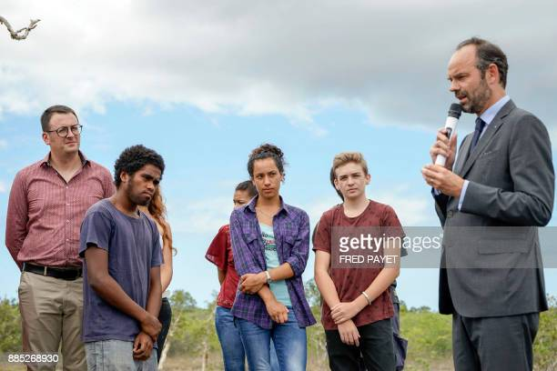 French Prime Minister Edouard Philippe delivers a speech during the presentation of the site of the future northern branch ot New Caledonia's...
