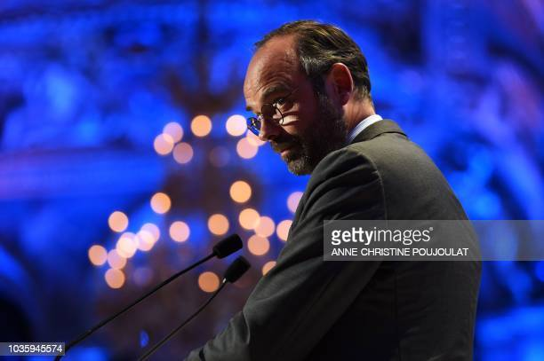 French Prime minister Edouard Philippe delivers a speech in Paris' city hall on September 19 during the 18th edition of the 'Conference des Villes'...