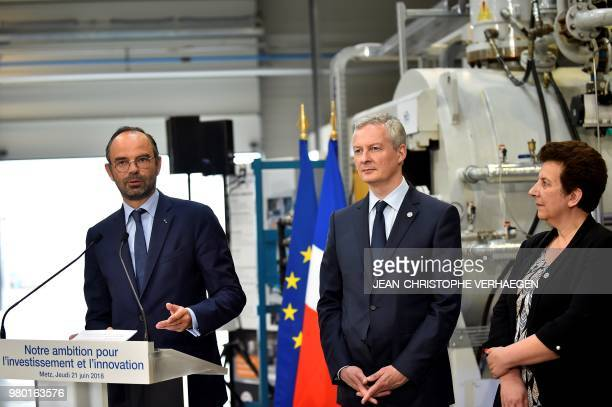 French Prime Minister Edouard Philippe delivers a speech nest to French Economy Minister Bruno Le Maire and French Minister of Higher Education...