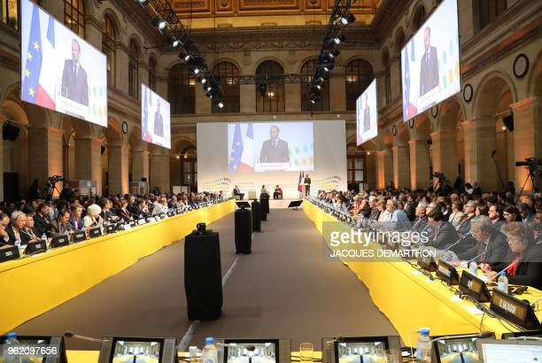 French Prime Minister Edouard Philippe delivers his speech on May 24 2018 prior to the European Higher Education ministers conference at the...