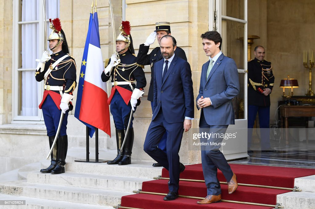 French Prime Minister Edouard Philippe escorts Canadian Prime Minister Justin Trudeau after a meeting at Hotel de Matignon on April 17, 2018 in Paris, France. The Canadian PM is on a two-day visit to France.
