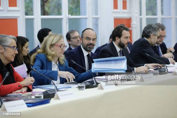 French Prime Minister Edouard Philippe flanked by French Justice Minister Nicole Belloubet and French Transports Minister Elisabeth Borne attend the...