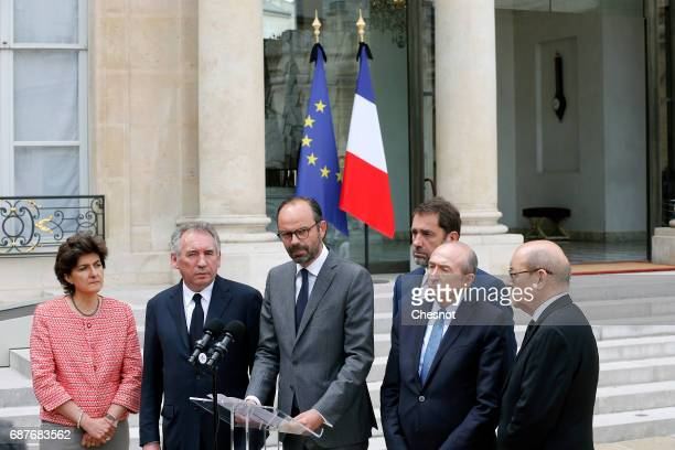 French Prime Minister Edouard Philippe flanked by French Minister of the Armed Forces Sylvie Goulard French Minister of Justice Francois Bayrou...
