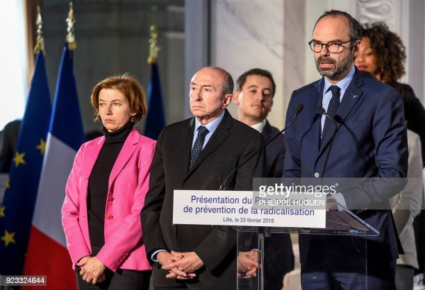 French Prime Minister Edouard Philippe flanked by members of the government French Defence Minister Florence Parly and French Interior Minister...