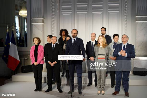 French Prime Minister Edouard Philippe flanked by members of the government French Defence Minister Florence Parly French Interior Minister Gerard...