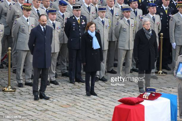 French Prime Minister Edouard Philippe, French Defence Minister Florence Parly and French Junior Defence Minister Genevieve Darrieussecq attend a...