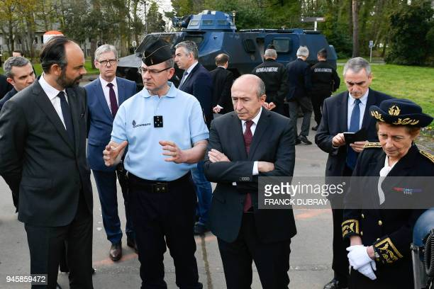 French Prime Minister Edouard Philippe French Interior Minister Gerard Collomb and Pays de la Loire's prefect Nicole Klein visit on April 13 2018 in...