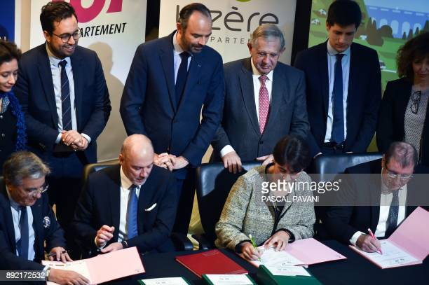French Prime Minister Edouard Philippe French Junior Minister for the Digital Sector Mounir Mahjoubi French Minister for the Territorial Cohesion...
