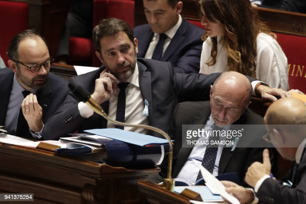 French Prime Minister Edouard Philippe French Junior Minister for the Relations with Parliament Christophe Castaner French Interior Minister Gerard...