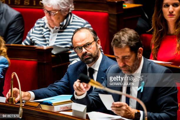French Prime Minister Edouard Philippe French Junior Minister for the Relations with Parliament Christophe Castaner and French Junior Minister for...