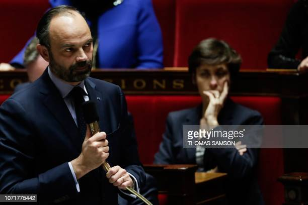 French Prime Minister Edouard Philippe gestures as he speaks during a session of questions to the government at the National Assembly in Paris on...