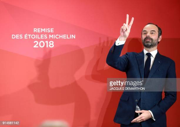 French Prime Minister Edouard Philippe gestures as he speaks during the Michelin guide award ceremony at La Seine Musicale in BoulogneBillancourt...