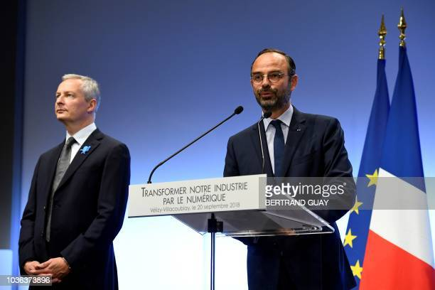 French Prime Minister Edouard Philippe gives a press conference next to le French Economy Minister Bruno Le Maire on the theme 'Digital...