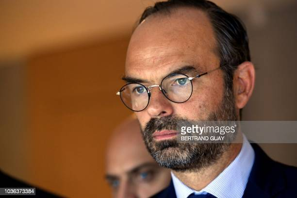 French Prime Minister Edouard Philippe gives a press conference on the theme 'Digital transformation of industry' on September 20 2018 at the...