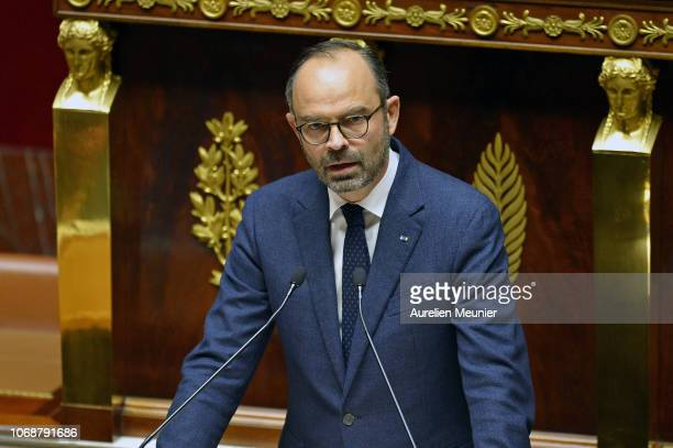 French Prime Minister Edouard Philippe gives a speech during the weekly session of questions to the government at Assemblee Nationale on December 5,...